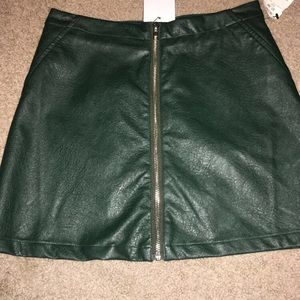 Green zip up skirt